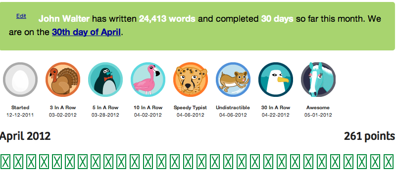 Screen shot of 750words.com showing I'd completed the April Challenge.