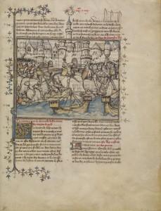 A Battle from the Trojan War, Getty Ms. Ludwig XIII 3, leaf 3